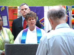 Rev. Rebecca Voelkel responding to the press